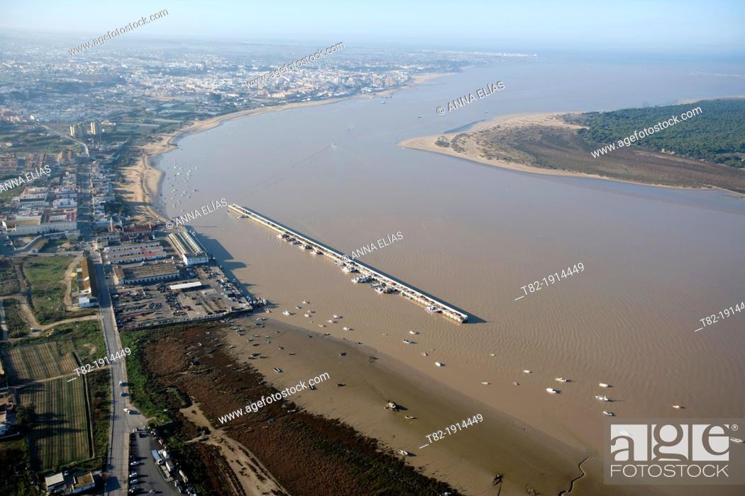 Stock Photo: aerial view of the river Guadalquivir and the Port of Bonanza, Sanlucar de Barrameda, Cadiz, Doñana Natural Park, Spain, Europe.