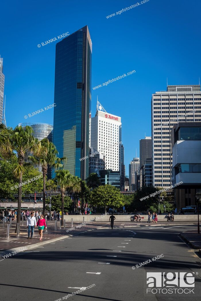 Stock Photo: Circular Quay and Central Business District skyscrapers in distance, Sydney, NSW, Australia.