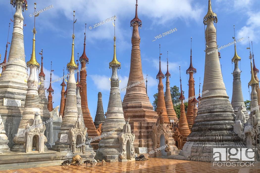 Stock Photo: Shwe Indein Pagoda, Inle Lake, Myanmar, Asia.