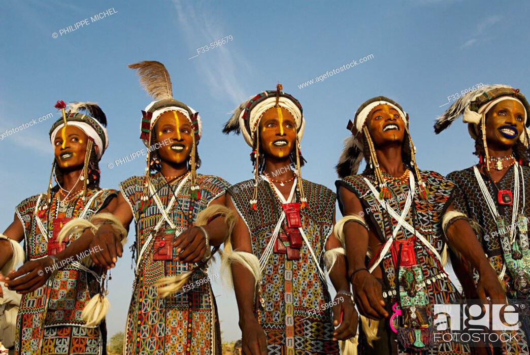Stock Photo: Niger. A Wodaabe-Bororo man with his face painted for the annual Gerewol male beauty contest. Gerewol, general reunion of West Africa for the Wadabee Peuls.