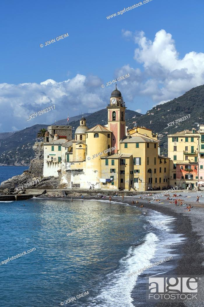 Stock Photo: Santa Maria Assunta basilica, Camogli, Liguria, Italy.