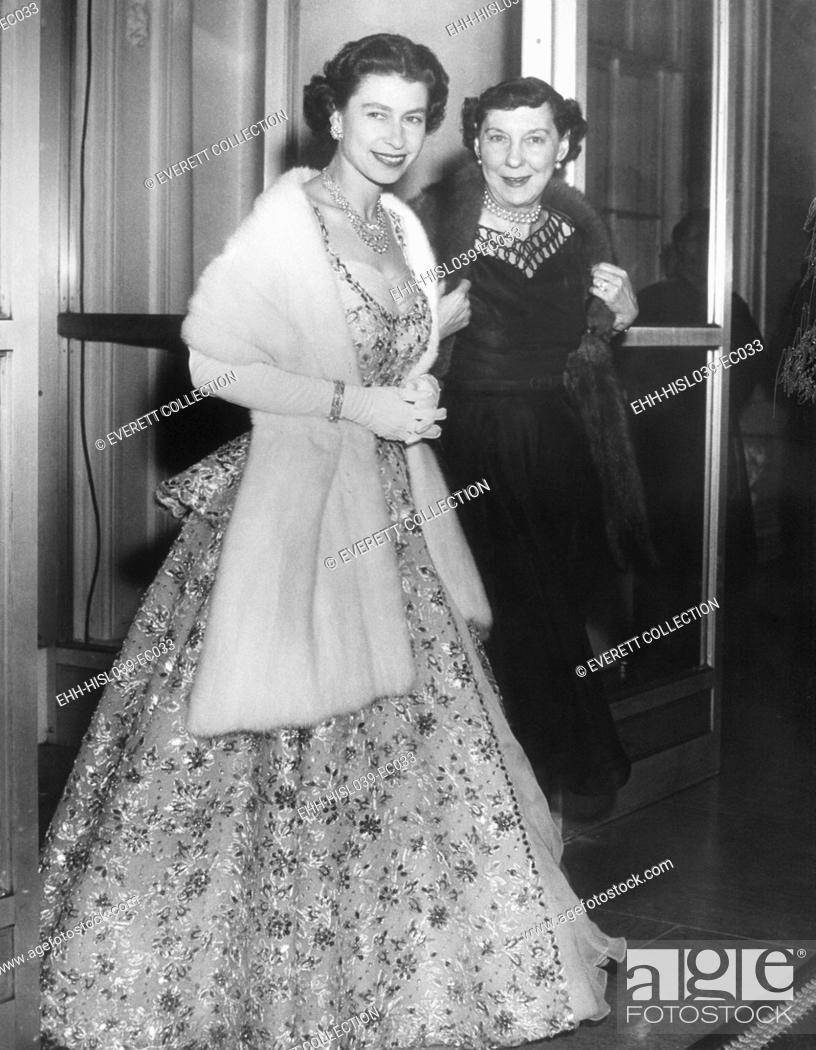 Stock Photo: Queen Elizabeth II and Mamie Eisenhower in evening gowns at the British Embassy. Oct. 19, 1957. - (BSLOC-2014-16-216).