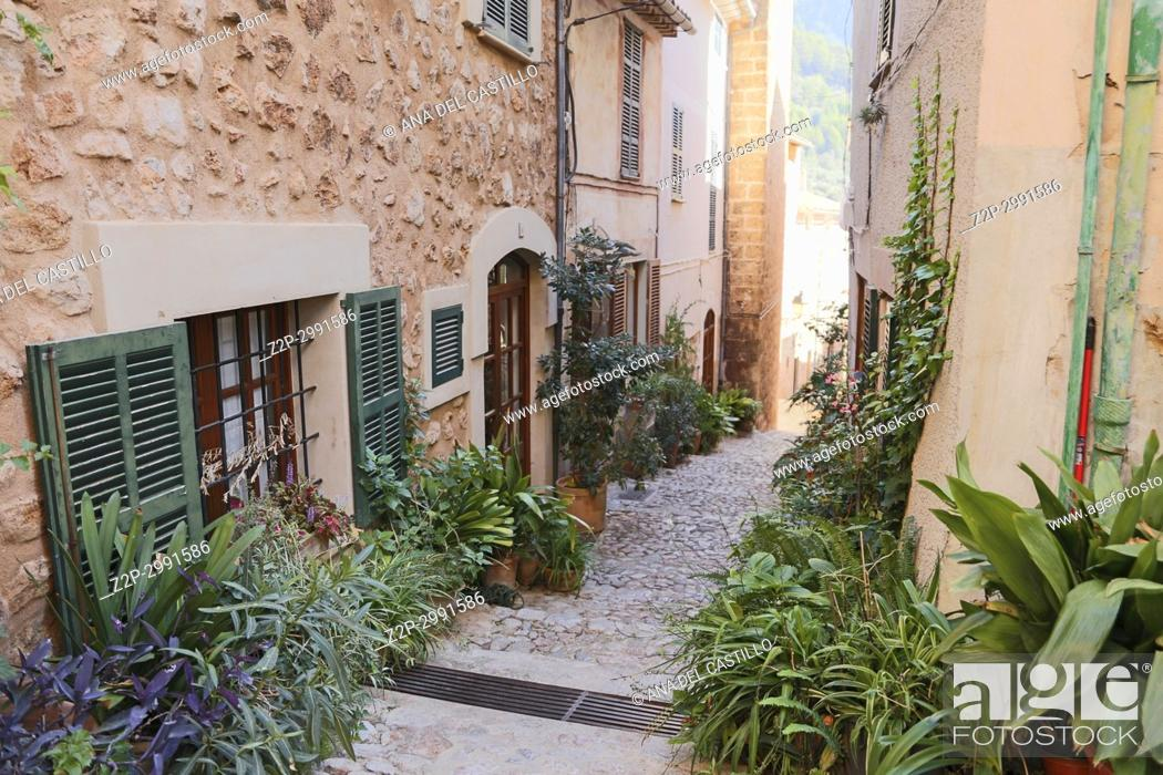 Stock Photo: Banyalbufar is a stone village in Tramuntana mountains Majorca island on October 31, 2016 Balearics Spain.