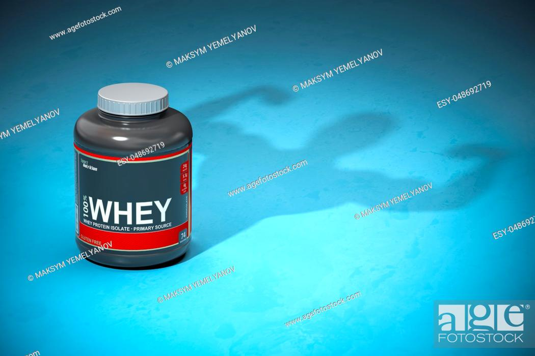 Imagen: Whey protein with a shadow of bodibuilder. Sports nutrition supplements for bodibuilding. 3d illustration.