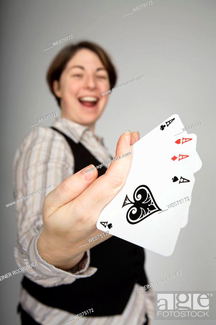 Stock Photo: woman with aces.