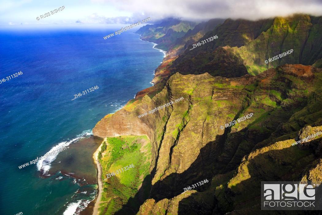 Stock Photo: Nualolo Kai Beach and the Na Pali Coast (aerial), Nualolo Kai State Park, Kauai, Hawaii USA.