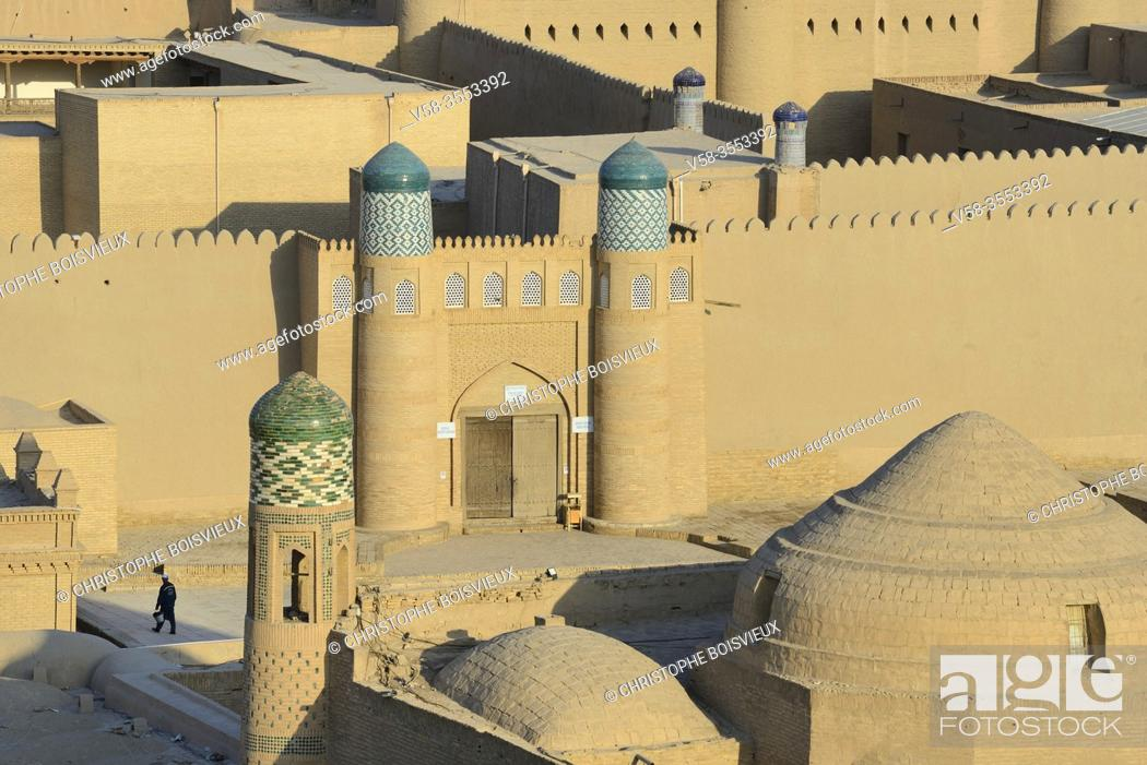 Stock Photo: Uzbekistan, Khorezm, Khiva, Unesco World Heritage Site, Old city of Itchan Qala, Citadel of Kunya Ark (Khoukna Ark).