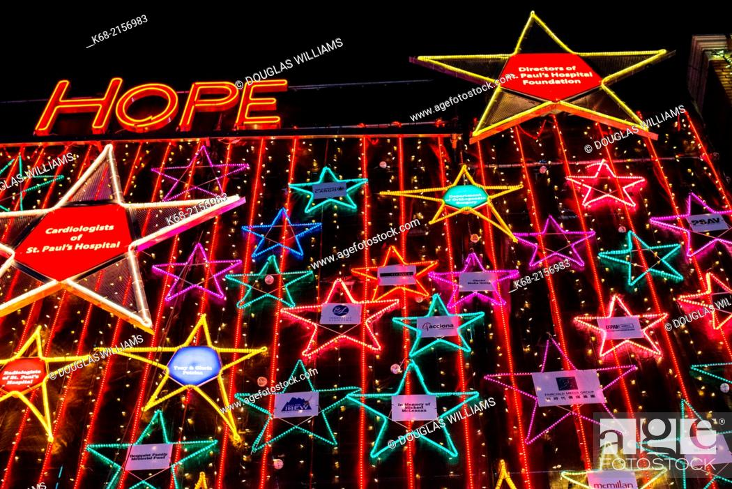 Stock Photo: The Christmas lights on St Paul's Hospital in downtown Vancouver, BC, Canada.