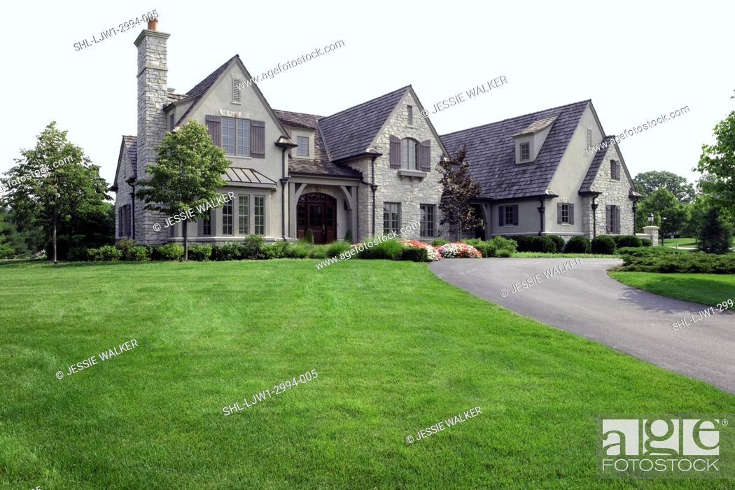 Exteriors French Normandy Country Style Stone And Stucco Home Shutters Two Story Stock Photo Picture And Rights Managed Image Pic Shl Ljw1 2994 005 Agefotostock