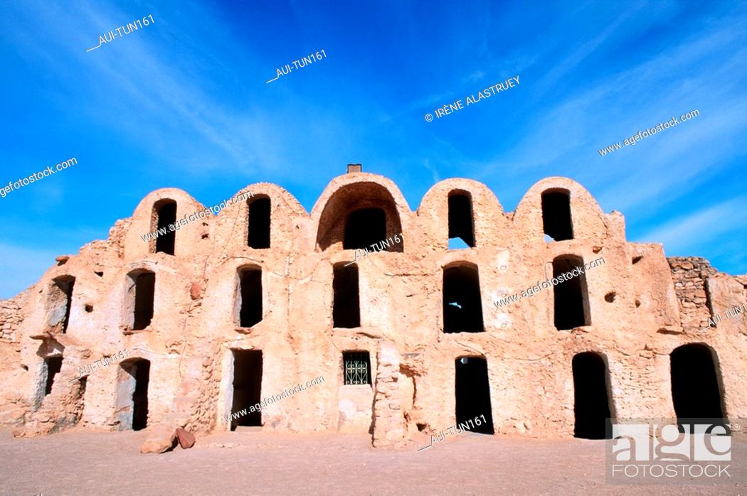 Stock Photo: Tunisia - The South - Medenine Region - Metameur - Ksar and Ghorfa.