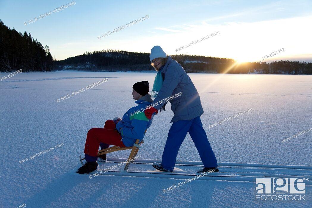 "Stock Photo: Winter picknick on lake, """"kick""""Jämtland Northern Sweden."