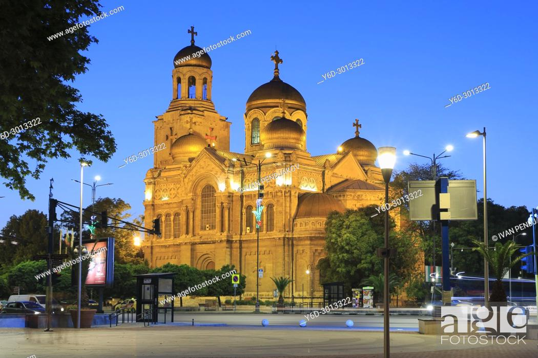 Stock Photo: Varna Cathedral at Dusk, Bulgaria.
