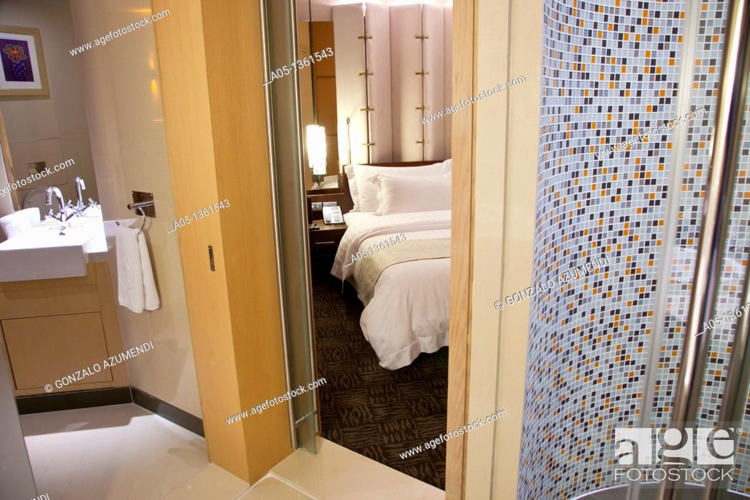 Stock Photo: Room in the Centara Grand Hotel al Central World Bangkok Tower  Pathumwan district  Bangkok  Thailand.