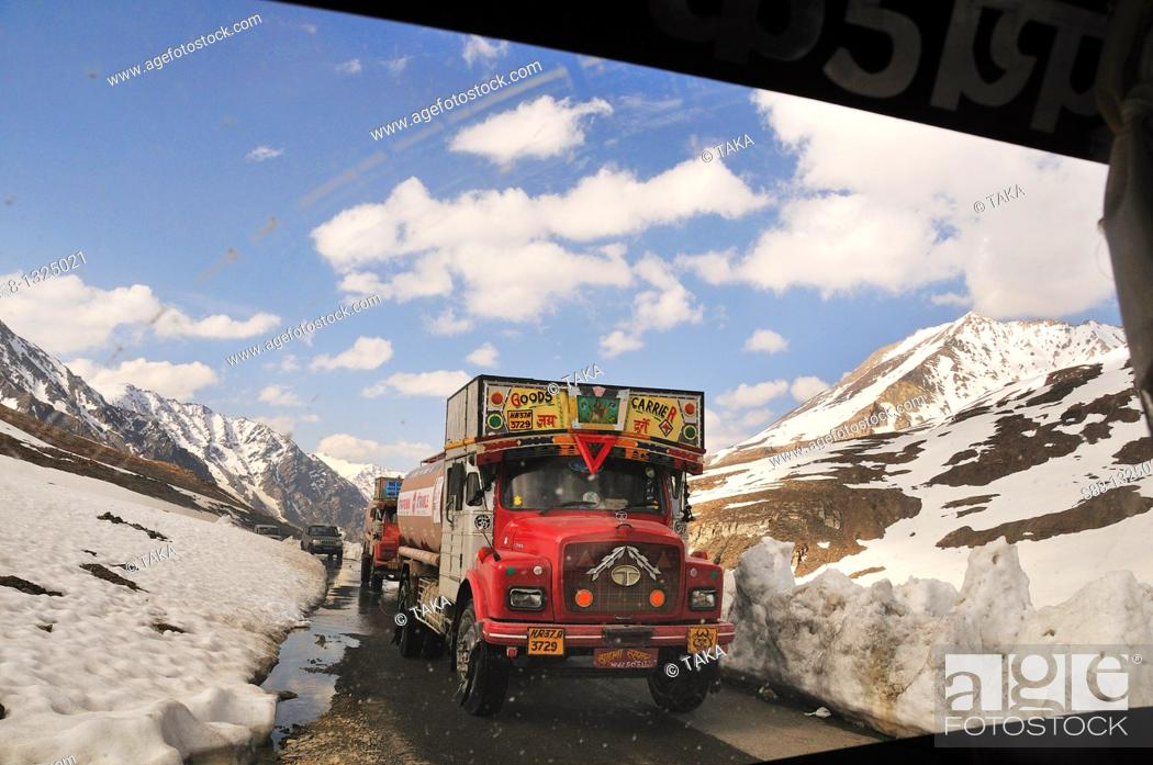 Stock Photo: Leh - Manali highway pass 5328m in the mountain Taglang La is the 2nd highest pass in the world Many trucks pass through for transportation.