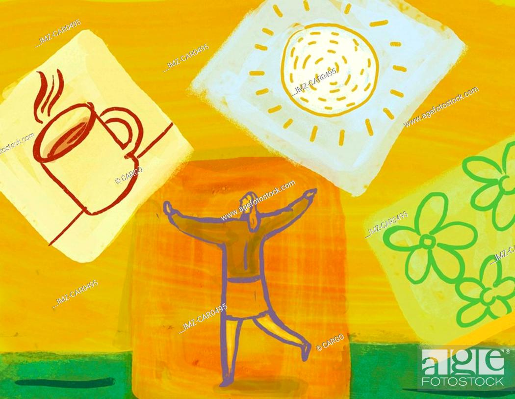 Stock Photo: Collage of a woman with arms in the air, a cup of coffee, a sun, and flowers.