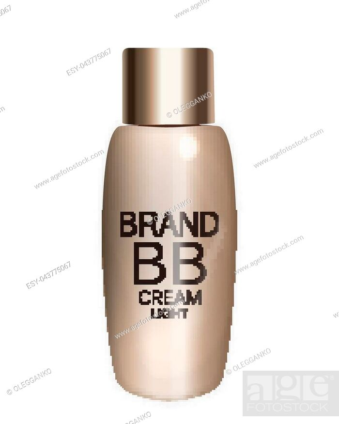 Stock Vector: BB Cream Bottle Template for Ads or Magazine Background. 3D Realistic Vector Iillustration. EPS10.