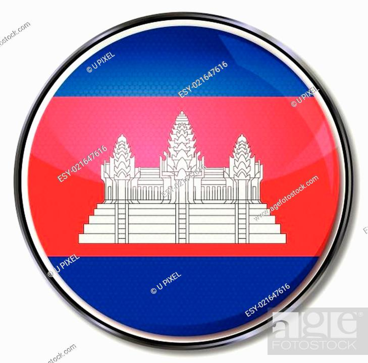 Stock Vector: Button Kambodscha.