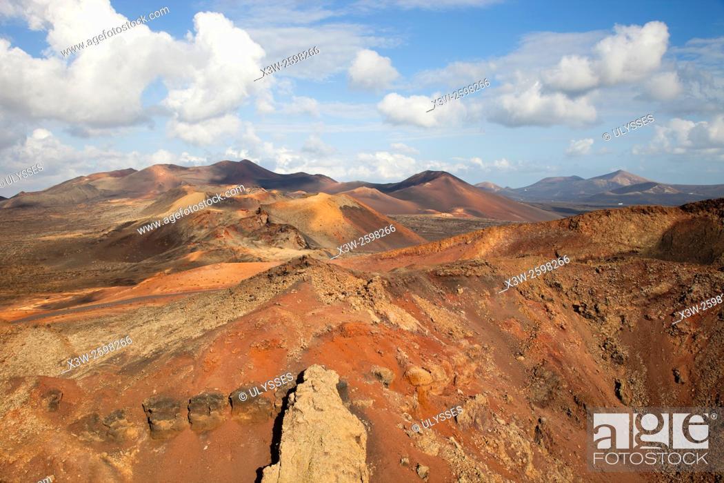 Stock Photo: Ruta de los Volcanoes, Parque Nacional de Timanfaya, Lanzarote island, Canary archipelago, Spain, Europe.