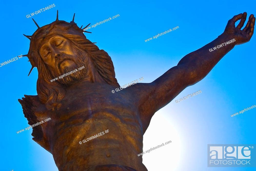 Stock Photo: Low angle view of a statue of Jesus Christ, Broken Christ, San Jose De Gracia, Aguascalientes, Mexico.