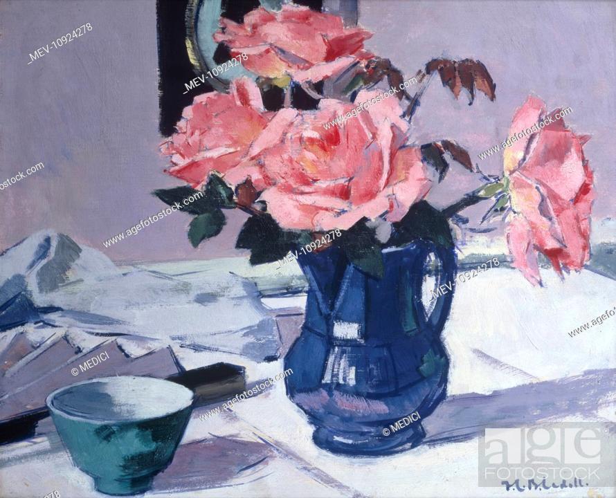 Stock Photo: 'Still Life – Blue Jug and Pink Roses'.