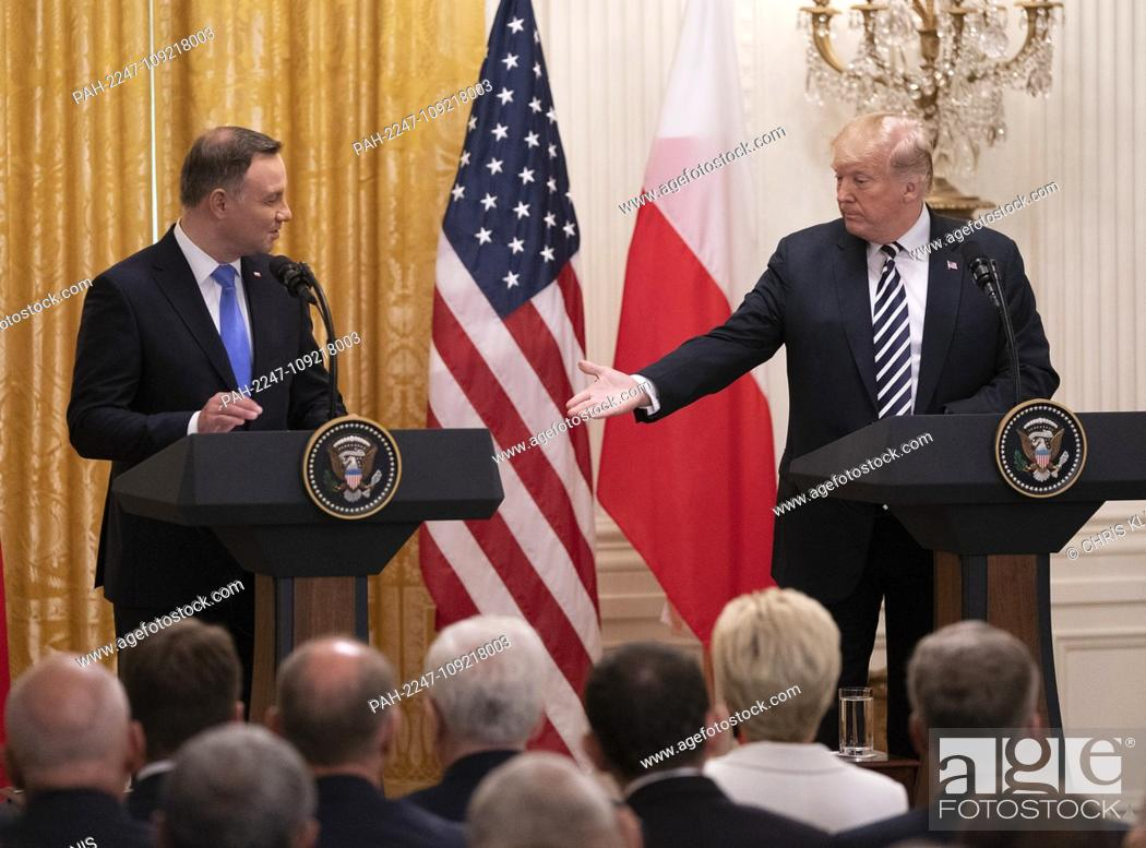 Stock Photo: United States President Donald J. Trump and the President of the Republic of Poland Andrzej Duda hold a news conference at The White House in Washington, DC.