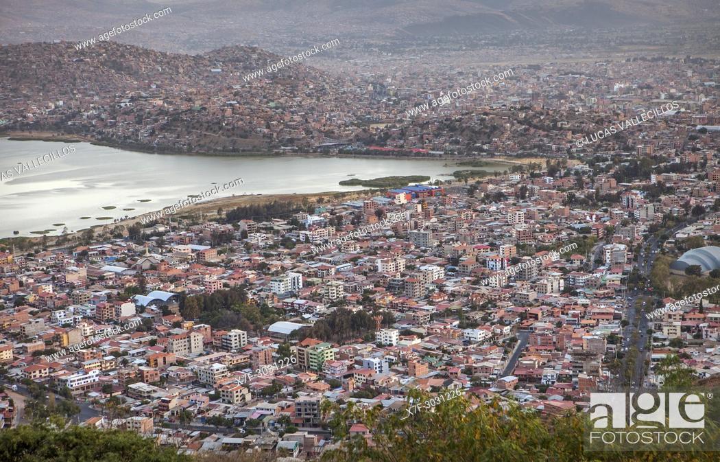 Stock Photo: View from the Cristo de la Concordia, Cochabamba, Bolivia.