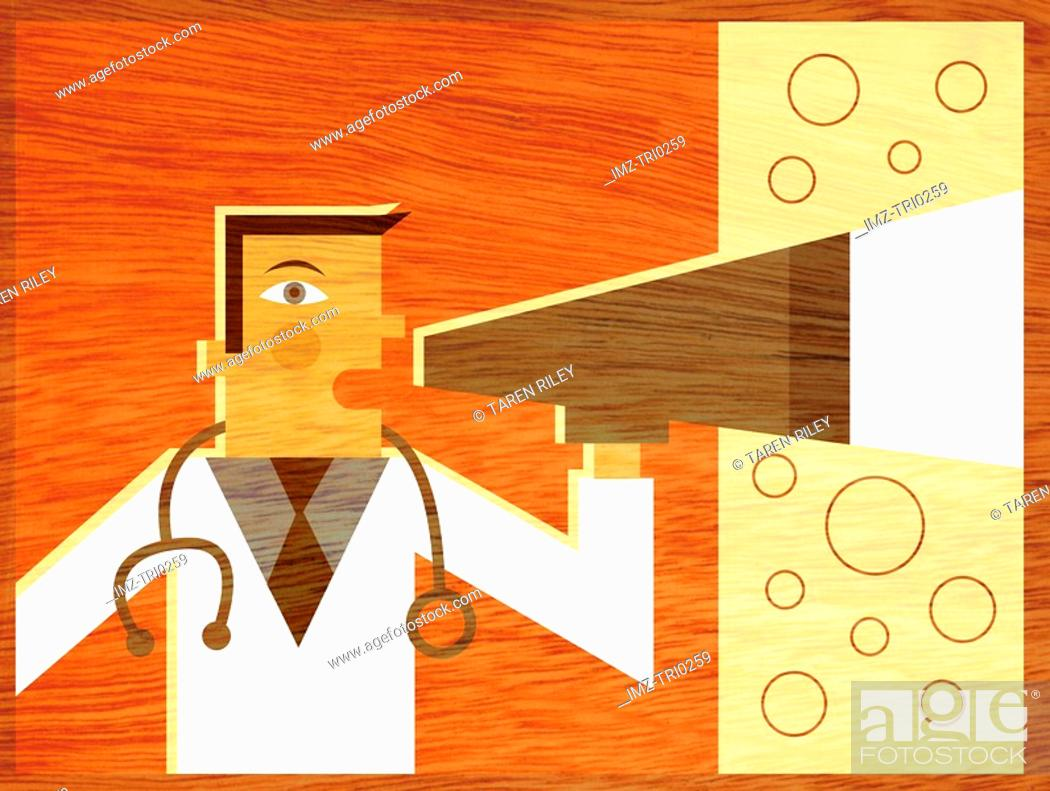 Stock Photo: A doctor using a blowhorn.