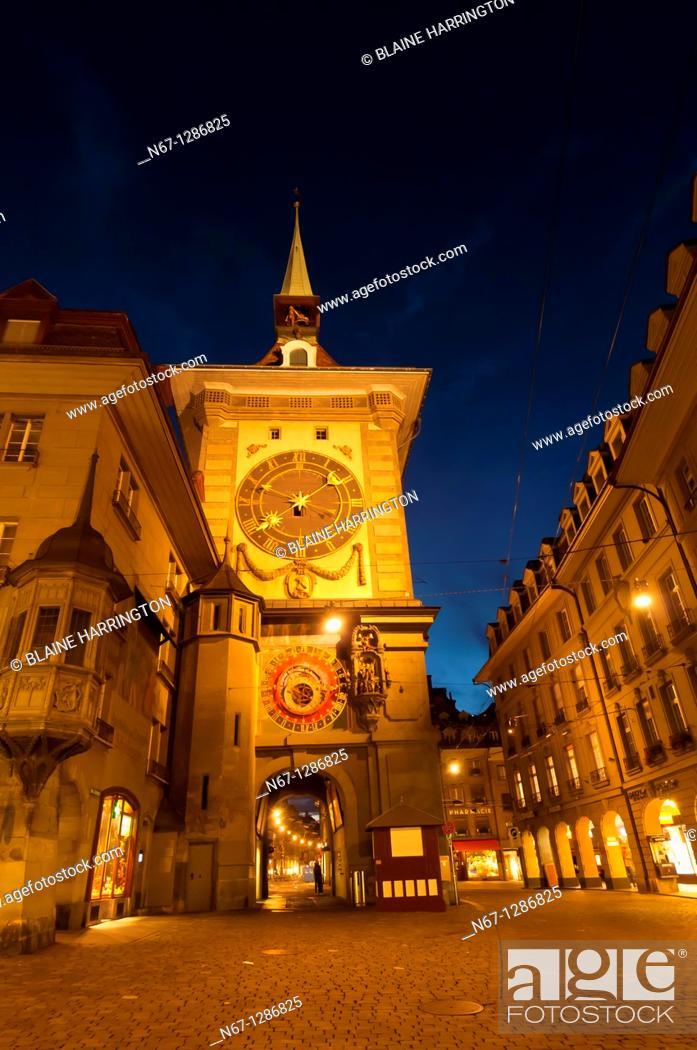 Stock Photo: The Clock Tower Zytglogge, Bern, Canton Bern, Switzerland.