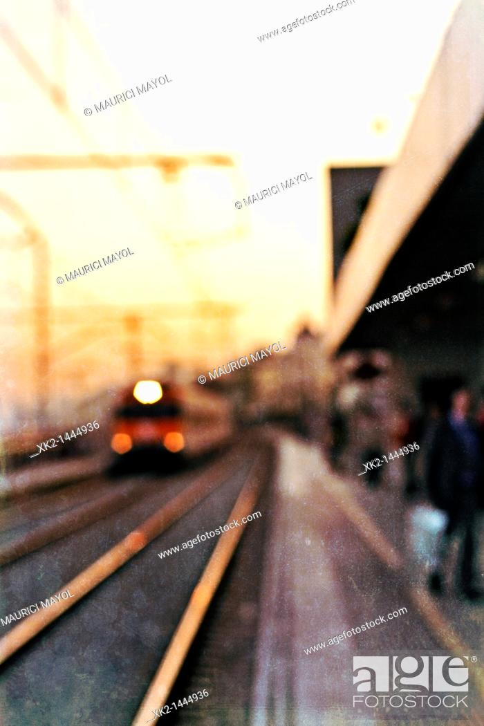 Stock Photo: Parada de tren en el Masnou, Provincia de Barcelona, Catalunya, Spain.