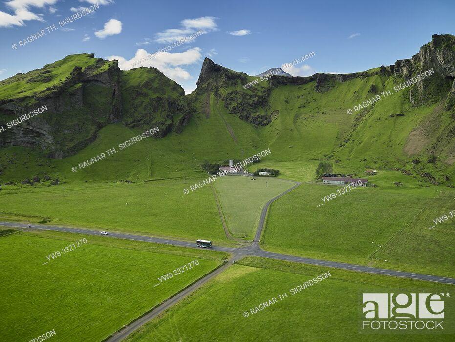 Photo de stock: Farmland, The Eyjafjoll area, South Coast, Iceland.