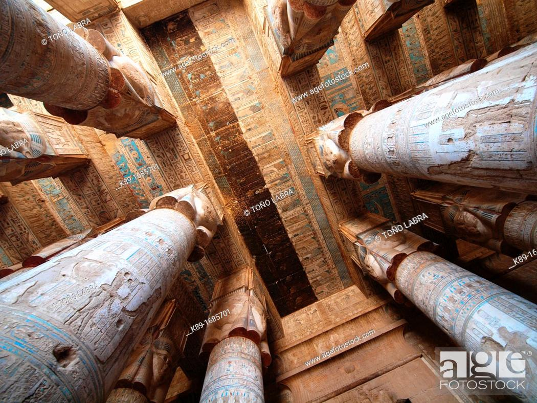 Stock Photo: Hypostyle Hall. Dendera temple dedicated to Hathor goddess. Upper Egypt.