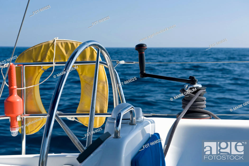 Stock Photo: Side view at the helm of a yacht.