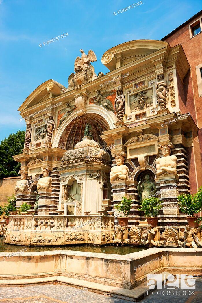 Stock Photo: The Organ fountain, 1566, housing organ pipies driven by air from the fountains. Villa d'Este, Tivoli, Italy - Unesco World Heritage Site.