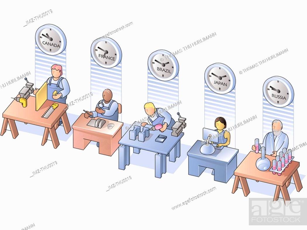 Stock Photo: people working around the world.