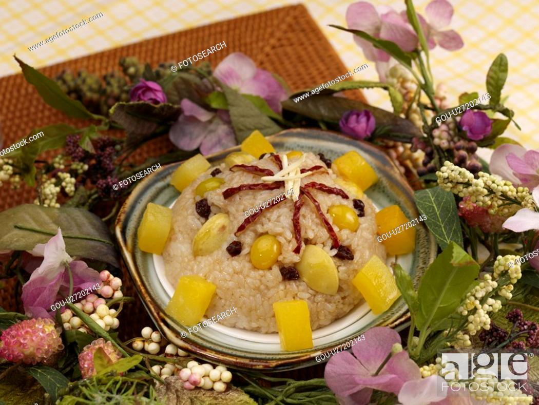 Stock Photo: food, sticky rice mixed with ingredients, flower, decoration, food styling, ba bao fan.