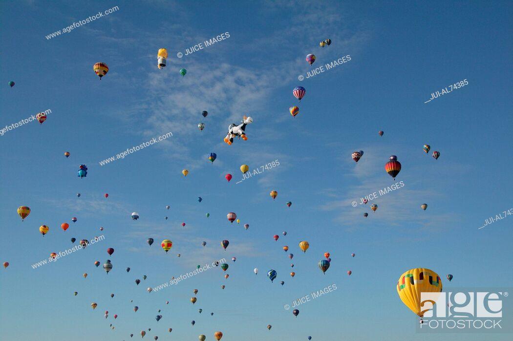 Stock Photo: View of hot-air balloons against blue sky, Balloon Festival, Albuquerque, New Mexico, USA.