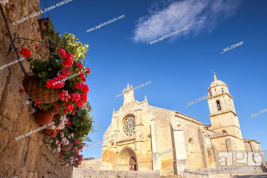 Stock Photo: Church of Santa Maria del Manzano in Castrojeriz, Way of St. James, Burgos, Spain.