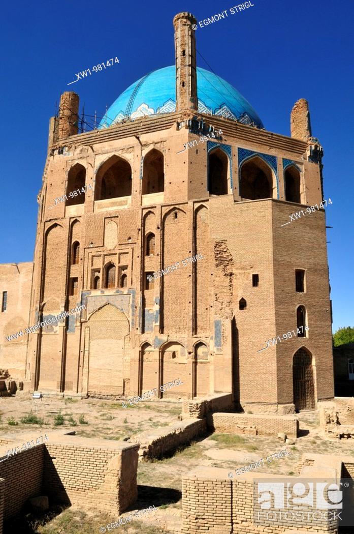 Stock Photo: historic Mausoleum of Oljaytu, Soltaniyeh, UNESCO World Heritage Site, Persia, Iran, Asia.