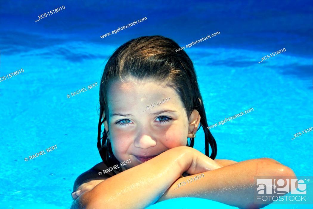 Stock Photo: Young girl pool portrait.