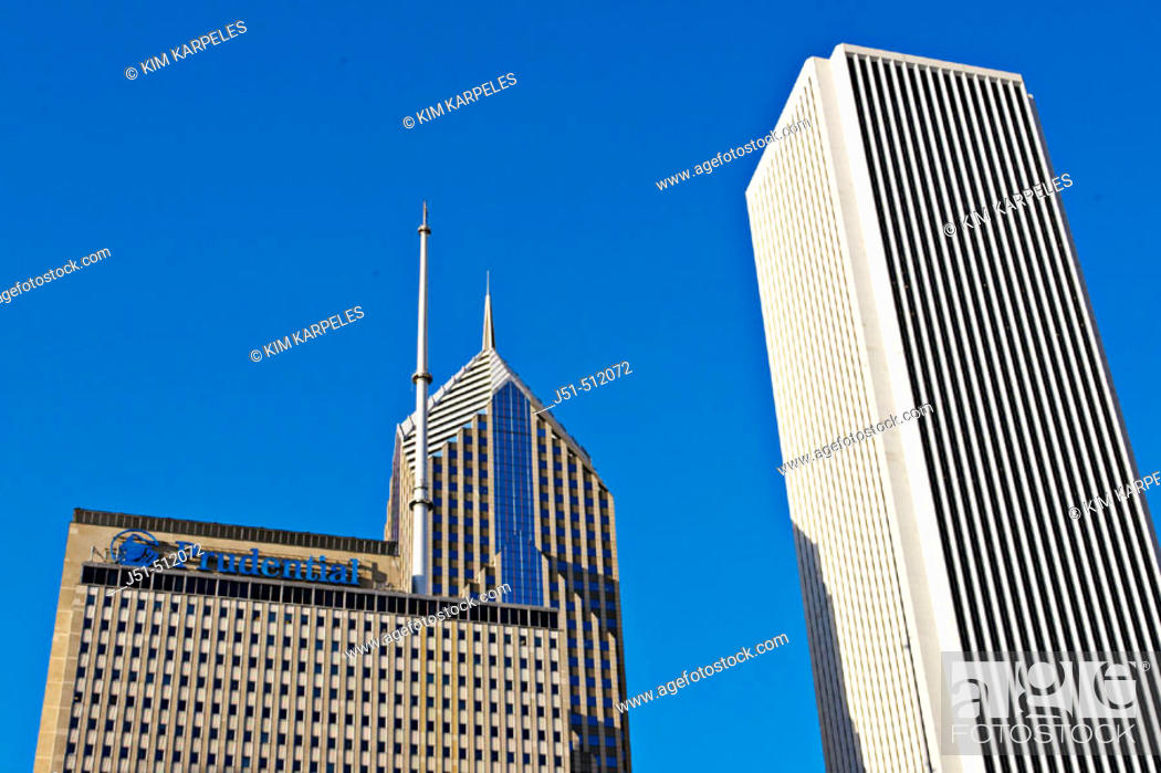 Stock Photo: Street scene. Top of Prudential building and Standard Oil building. Chicago. Illinois, USA.