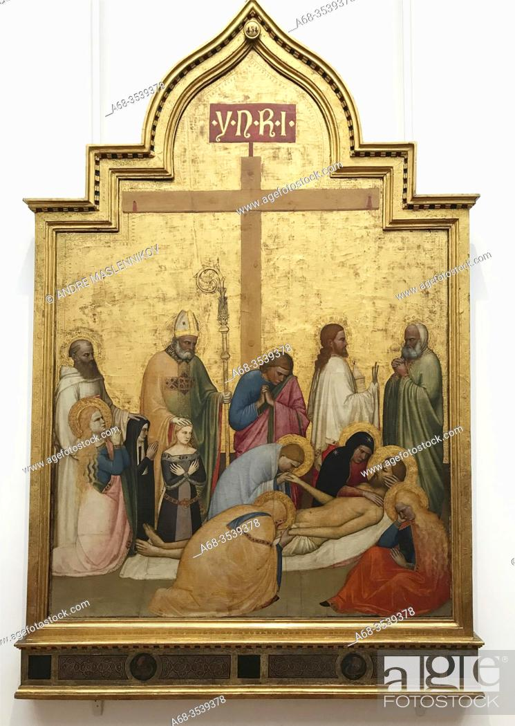 Stock Photo: Lamentation over the Dead Christ, 1360-5 cirka, by Giottino Giotto di Stefano. Tempera on wood. The Uffizi Gallery is a prominent art museum located adjacent to.