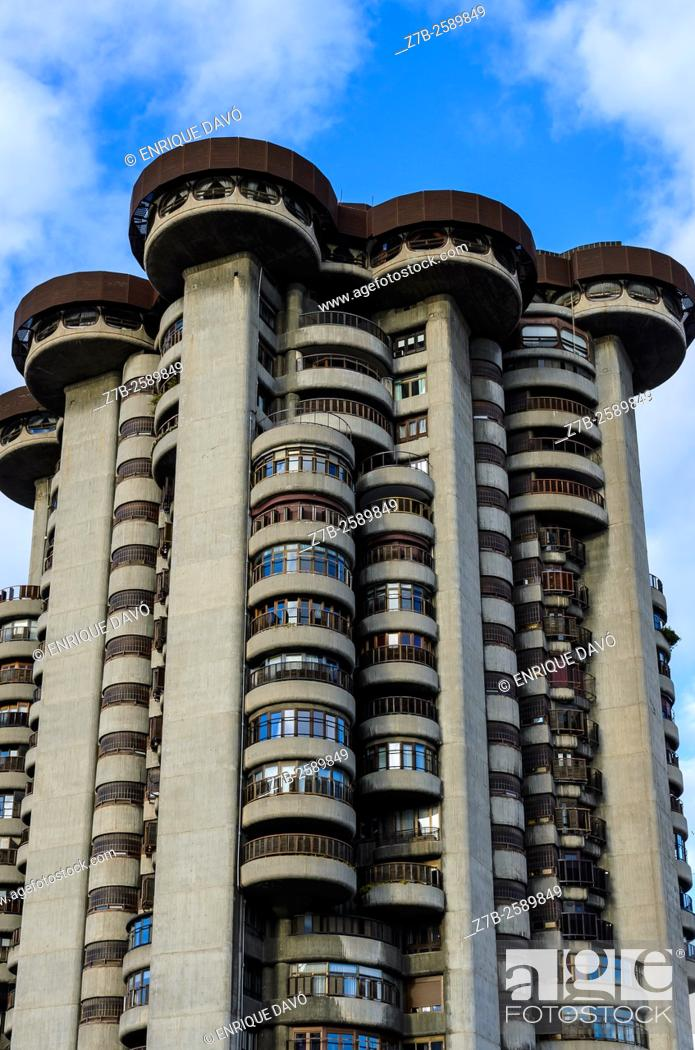Stock Photo: Down view of Torres Blancas towers in Madrid city, Spain.
