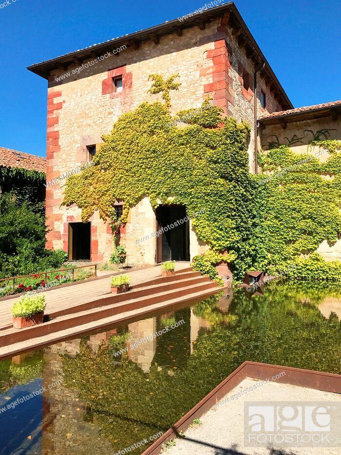 Stock Photo: Facade of rural hotel. Palencia, Spain.
