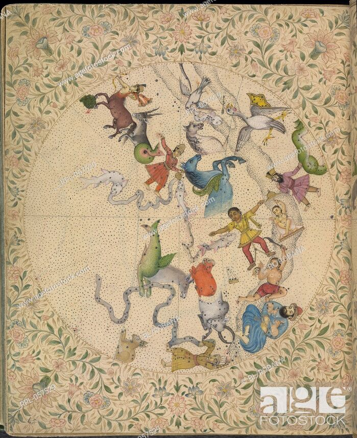 Imagen: Signs of the Zodiac. This manuscript synthesizes knowledge of astronomy and includes accounts of the Hindu Islamic and European systems.