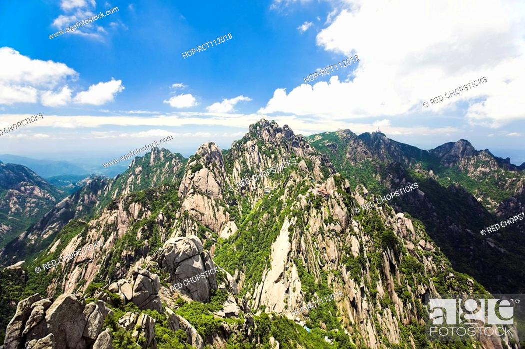 Stock Photo: Clouds over a mountain range, Huangshan, Anhui province, China.