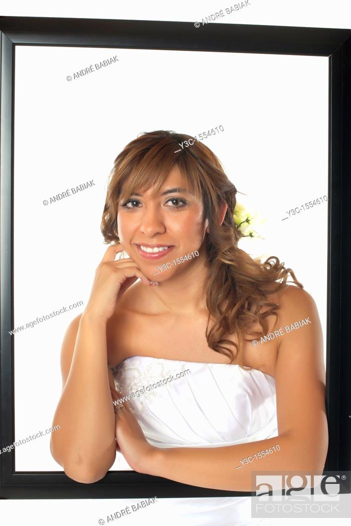Stock Photo: Hispanic bride with bridal flower bouquet.