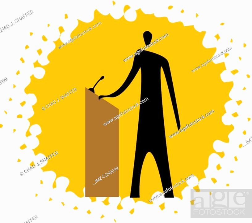 Stock Photo: guy stepping up to a podium.