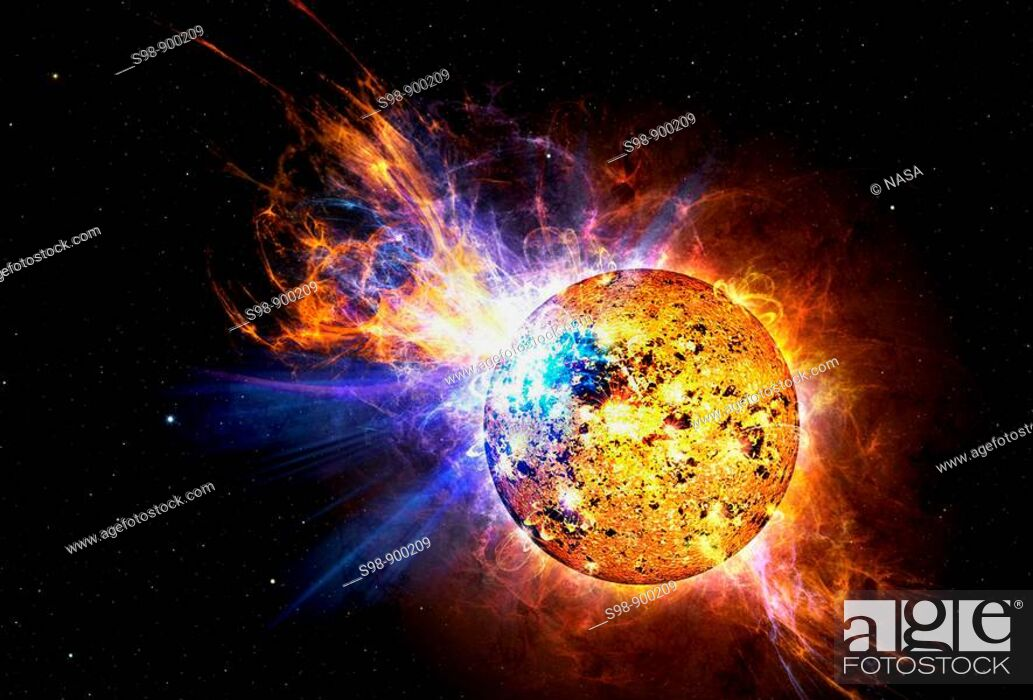 Stock Photo: For many years scientists have known that our sun gives off powerful explosions, known as flares, that contain millions of times more energy than atomic bombs.