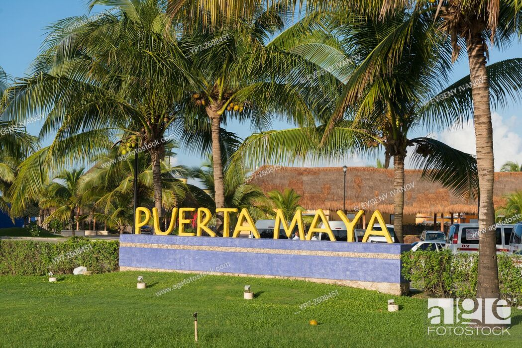Stock Photo: Puerto Maya Sign In Cozumel, Mexico.
