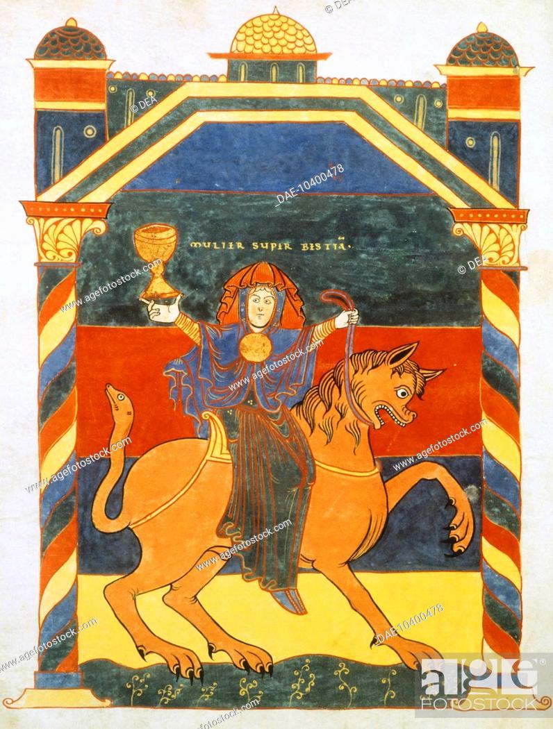 Stock Photo: Page of the Book of Revelation by Saint Severo, 11th Century.  Paris, Bibliothèque Nationale De France (Library).